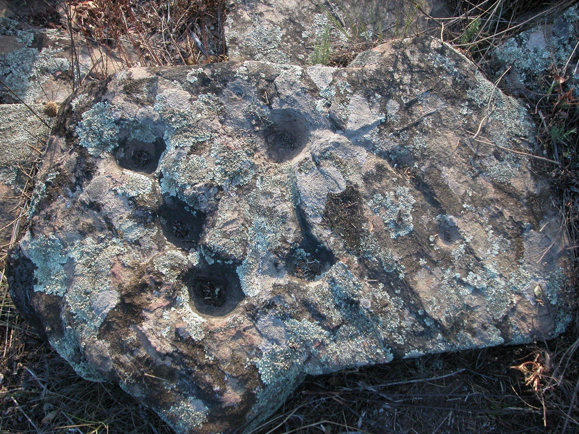 La imatge ens mostra un conjunt de cassoletes gravades a la roca i unides entre elles per reguerons. Aquesta llosa es troba a les immediacions del dolmen del Doctor Pericot i es creu que serien també de cronologia prehistòrica. La seva funció encara no es sap amb certesa: hi ha qui diu que es per fer rituals al voltant de l'àrea sagrada, hi ha qui diu que son marques territorials o inclús mapes.