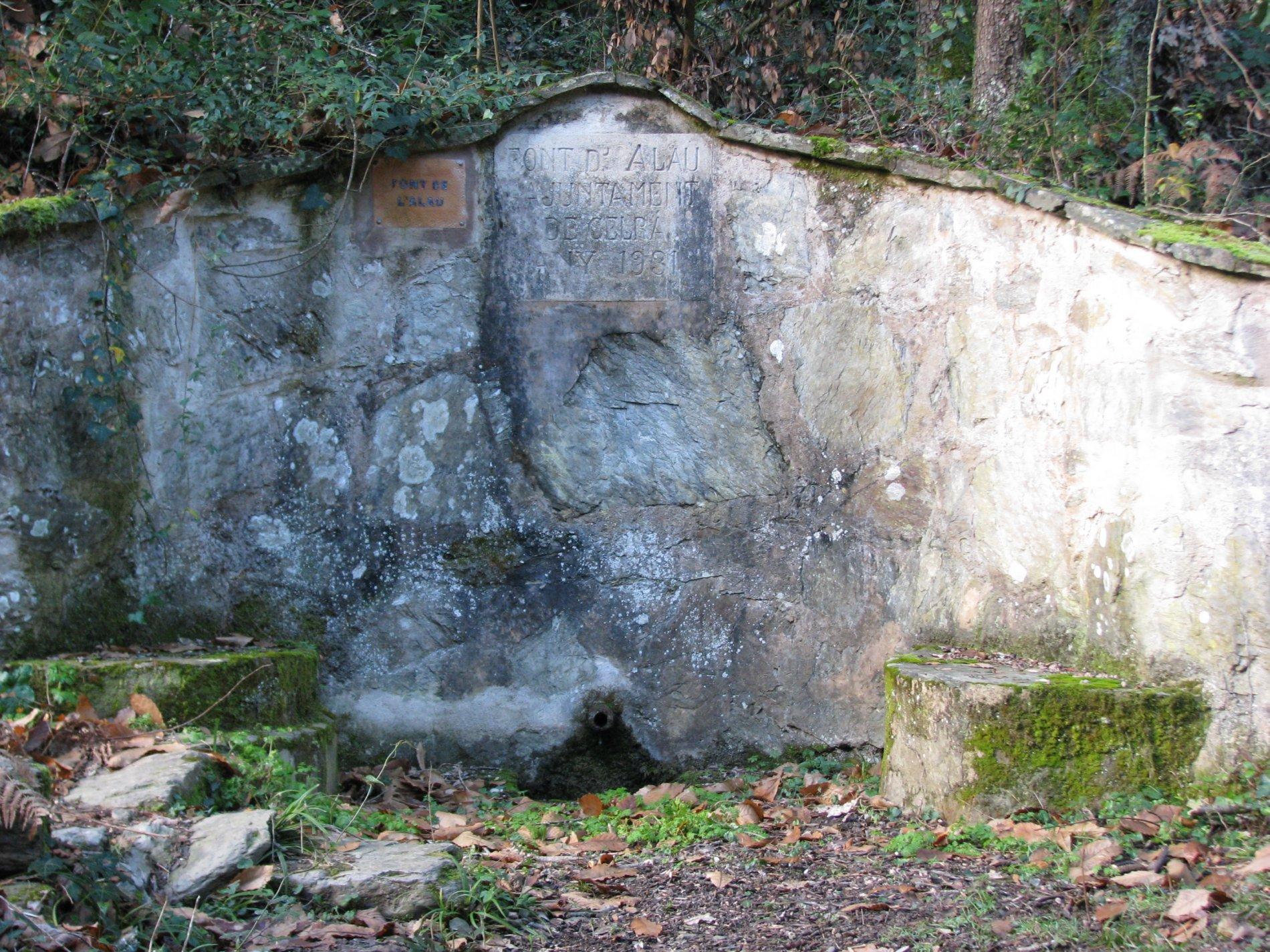 La font de l'Alau és una font de broc amb un frontal de pedra arrebosat i coronat amb llècols. A cada costat del broc es situen dos petits bancs el que denota l'ús públic de la font. Les molses i el verdet del seu voltant ens transmeten l'àmbient humit de la font.