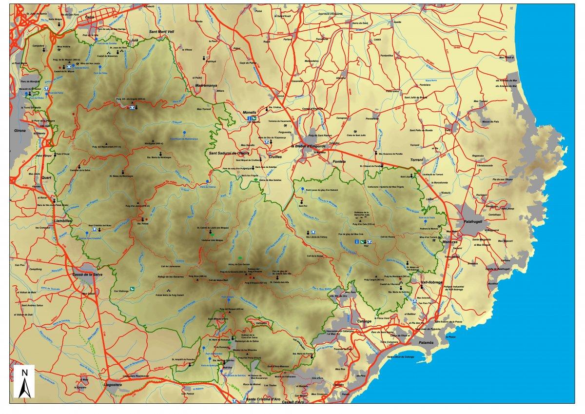 mapa de les Gavarres